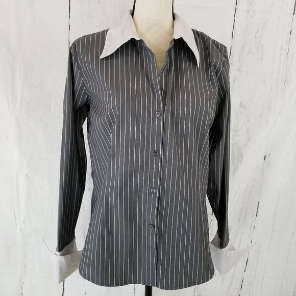 a5148647 Dress Barn Tops   Dressbarn Button Up Shirt Sz L Gray Striped   Poshmark